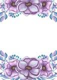 Cadre avec la lumière Violet Flowers And Leaves d'aquarelle Image stock