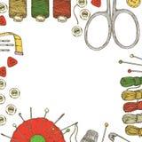 Cadre avec les approvisionnements et les accessoires de couture illustration stock