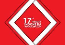 cadre blanc de l'Indonésie de 17ème jour d'August Independence sur le vecteur rouge de célébration de vacances de conception illustration libre de droits
