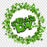 Cadre blanc marquant avec des lettres le trèfle de vert de St Patrick Day Photos stock