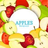 Cadre blanc rond sur le fond de pommes de couleur Illustration de carte de vecteur Pomme fraîche Delicious entière, épluché, morc Image stock