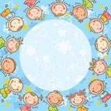Cadre bleu avec beaucoup d'enfants Photos libres de droits
