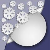 Cadre bleu avec des flocons de neige Image stock
