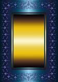 Cadre bleu avec le modèle floral mauve-clair et les lis héraldiques Photographie stock libre de droits
