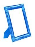 Cadre bleu de photo d'isolement sur le blanc Photographie stock