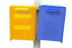 Cadre bleu et jaune de poteau Image libre de droits