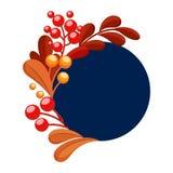 Cadre bleu rond avec les baies rouges et oranges de feuilles Illustration de vecteur photos stock