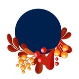 Cadre bleu rond avec les baies rouges et oranges de feuilles Illustration de vecteur images libres de droits