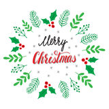 Cadre botanique tiré par la main Main marquant avec des lettres la carte de Joyeux Noël Photos libres de droits