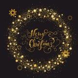 Cadre brillant de nouvelle année d'or avec marquer avec des lettres le Joyeux Noël Photographie stock