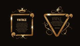 Cadre brillant de vintage d'or avec des flourishes et des citations Image stock