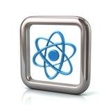 Cadre carré arrondi métallique avec l'icône bleue d'atome Photo stock