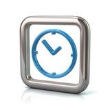 Cadre carré arrondi métallique avec l'icône bleue d'horloge Images stock