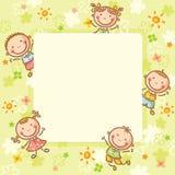 Cadre carré avec cinq enfants Photo stock