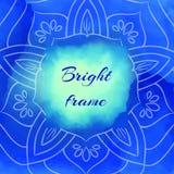 Cadre carré bleu lumineux Photographie stock