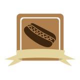 cadre carré coloré avec le ruban et hot-dog avec de la sauce Photographie stock libre de droits