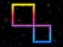 Cadre carré d'arc-en-ciel avec des étincelles Photo libre de droits