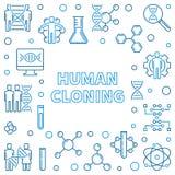 Cadre carré d'ensemble de clonage humain Illustration de vecteur illustration libre de droits