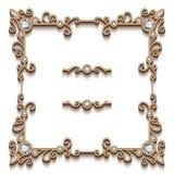 Cadre carré de bijoux d'or Images stock