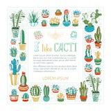 Cadre carré de cactus et de succulents de vecteur Photographie stock libre de droits
