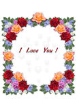 Cadre carré rassemblé des fleurs Photos stock