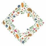 Cadre carré tiré par la main avec les fleurs et les feuilles mignonnes Photographie stock libre de droits