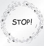 Cadre circulaire avec des copies de pied de chat illustration libre de droits