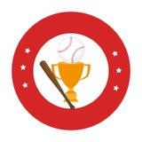 Cadre circulaire avec le trophée de base-ball avec la boule et la batte de baseball Photos stock
