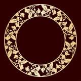 Cadre circulaire d'or à jour avec des feuilles illustration de vecteur