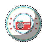Cadre circulaire de couleur d'autocollant avec le stéréo par radio illustration libre de droits