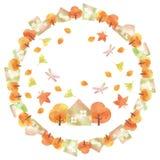 Cadre circulaire de ville d'automne Photo libre de droits