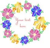 Cadre coloré décoratif des textes d'illustrations de fleur de vecteur illustration stock