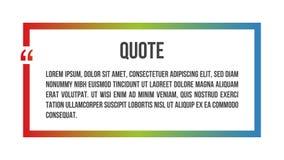 Cadre coloré de calibre de citation de vecteur innovateur dans la citation Illustration créative de bannière de vecteur avec une  illustration stock