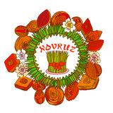 Cadre coloré de Novruz avec des bonbons et des oeufs Photographie stock libre de droits