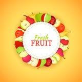 Cadre coloré rond composé de fruit de poire de pomme Delicious Illustration de carte de vecteur Cadre de poires de pommes de cerc Photos stock