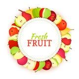 Cadre coloré rond composé de fruit de poire de pomme Delicious Illustration de carte de vecteur Cadre de poires de pommes de cerc Images stock