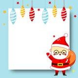 Cadre décoré de Noël Fond de blanc de nouvelle année avec la bande dessinée mignonne Santa Claus et les babioles illustration libre de droits