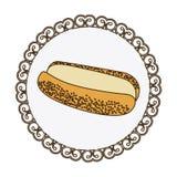 cadre décoratif avec du pain coloré de silhouette pour l'icône d'aliments de préparation rapide de hot-dog Illustration Libre de Droits