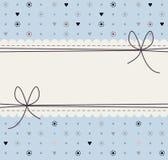 Cadre décoratif avec les fleurs, les points de polka, les coeurs et les arcs mignons illustration stock