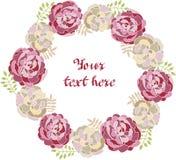 Cadre décoratif de vecteur de pivoine pour le texte Pensionnaire floral pour des cartes de voeux illustration de vecteur