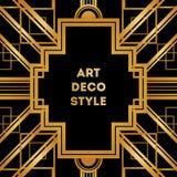 Cadre décoratif de vintage d'Art Deco Rétro calibre de design de carte Image libre de droits