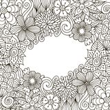Cadre décoratif de zentangle floral illustration de vecteur