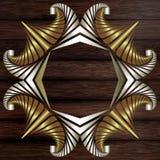 Cadre décoratif des éléments d'or et argentés sur la surface en bois de brun foncé Photos stock