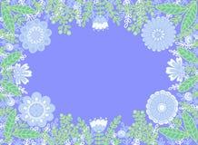 Cadre décoratif des fleurs sur un fond bleu photo stock