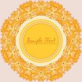Cadre décoratif rond jaune de fleur Image stock