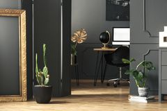Cadre d'or à côté de cactus dans l'intérieur gris de siège social avec la moquerie image libre de droits