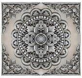Cadre d'éléments d'ornement, floral argenté de vintage Photographie stock libre de droits