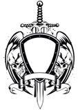 Cadre d'épée de crânes Photos libres de droits