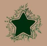 Cadre d'étoile avec des feuilles de laurier illustration stock