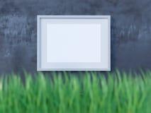 Cadre d'affiche de disposition, vue de face, avec des éléments de décor, des fleurs et l'espace vide sur un fond rouge illustrati illustration de vecteur